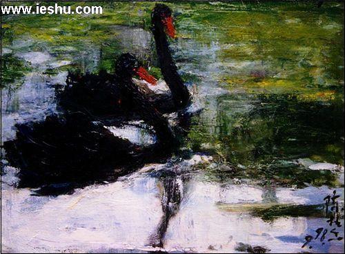 作品名称:两只黑天鹅 1998-书画名人 陈桂香图片