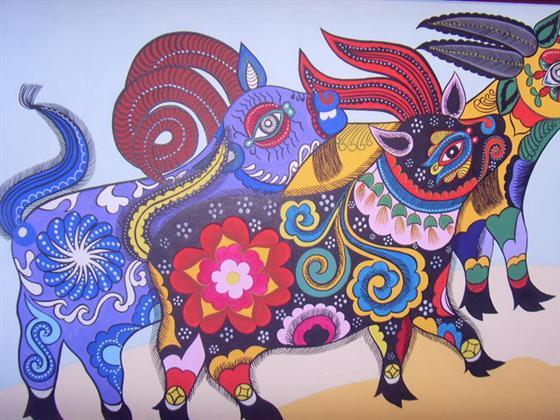 装饰花纹的大公鸡绘画作品
